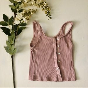 Basic Pink Crop Tank Top